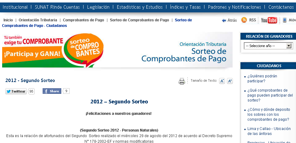 Cronograma Sorteo de Comprobantes de Pago SUNAT 2012 Ganadores